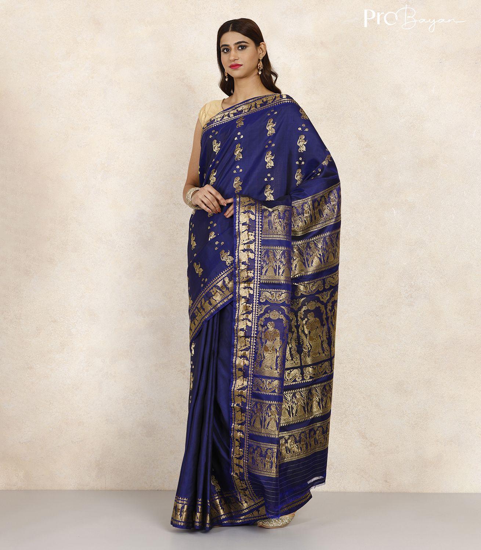 Swarnachari Silk Berry Blue Minakari Handwoven Saree