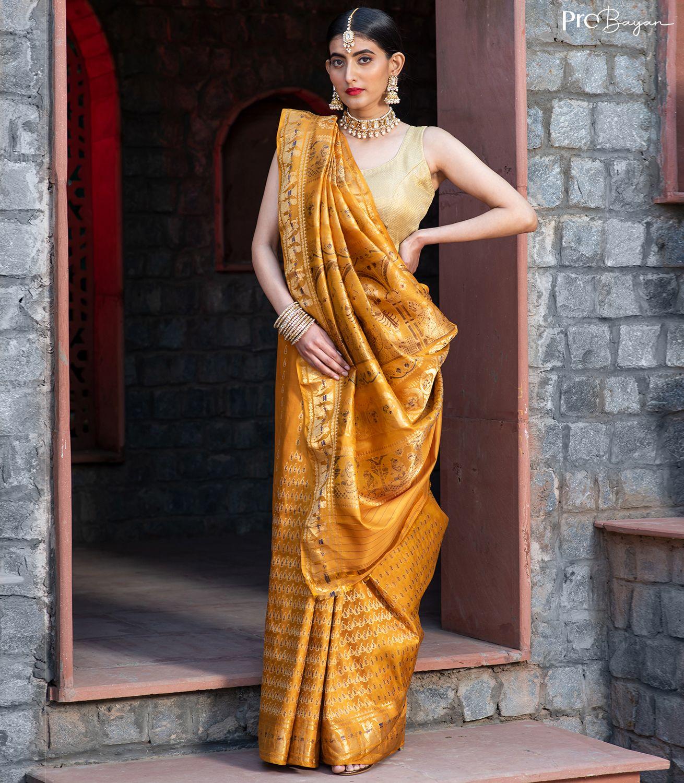 Swarnachari Silk Tuscany Yellow Full Body Minakari Handwoven Saree