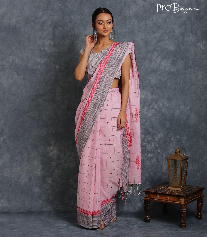 Tangail Mercerised Cotton Blush Pink Jamdani Motiffed Pallu Handwoven Saree