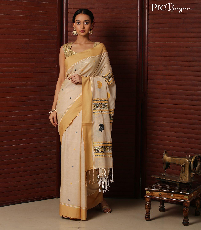 Tangail Premium Mercerised Cotton Beige and Golden Handwoven Saree