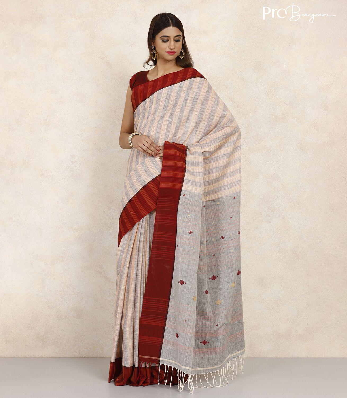 Tangail Exclusive Khadi Pearl White Full Body Striped Handwoven Saree
