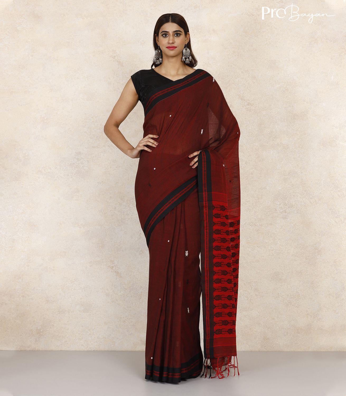 Tangail Khadi Cotton Mahogany Red Handwoven Saree