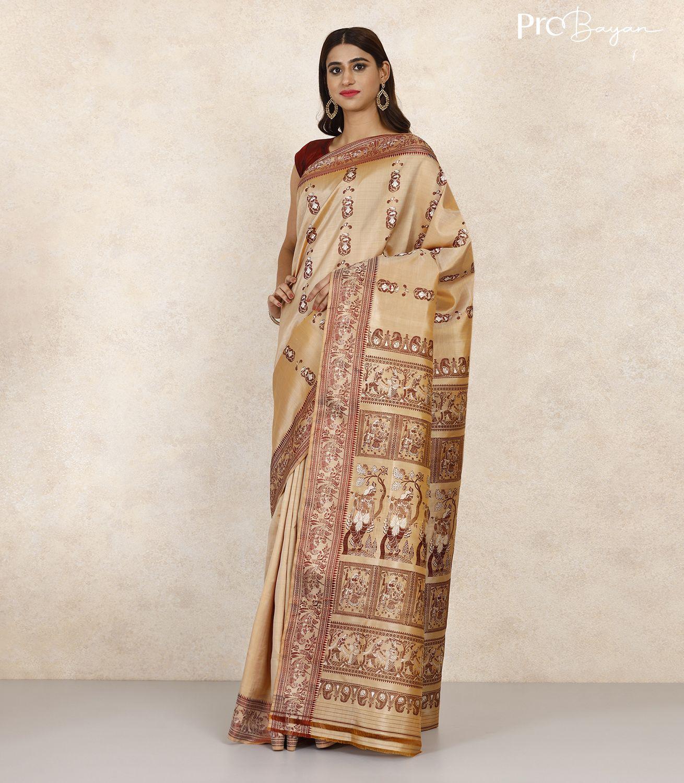 Baluchari Silk Vanilla White Handwoven Saree