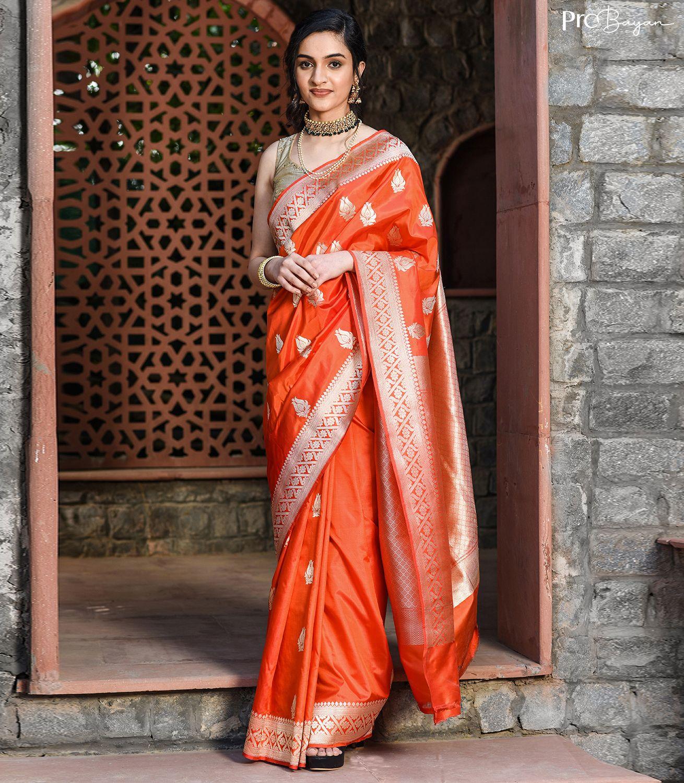 Banarasi Katan Silk Pepperoni Red Kaduwa Buta Handwoven Saree