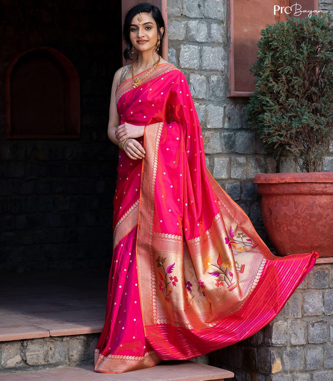 Banarasi Katan Silk Pink Dual Tone Asrali Butiwork Handwoven Saree