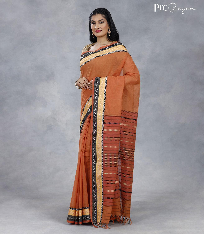 Begampuri Bengal Cotton Royal Orange Handwoven Saree