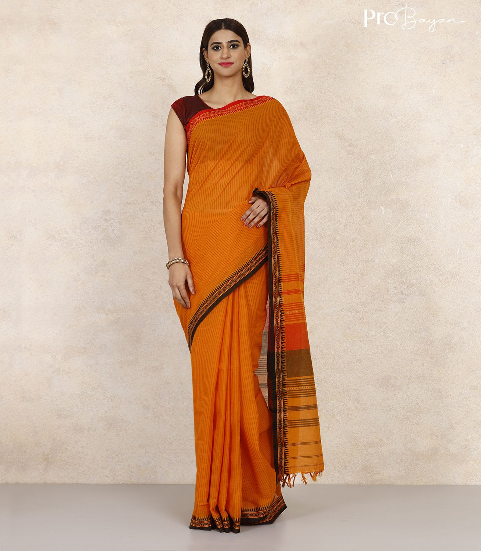 Begampuri Bengal Cotton Ochre Yellow Striped Handwoven Saree
