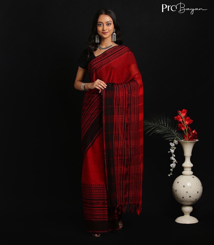 Begampuri Bengal Cotton Garnet Red Handwoven Saree