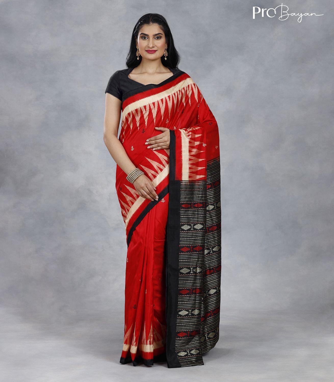 Bomkai Silk Rose Red Handwoven Saree