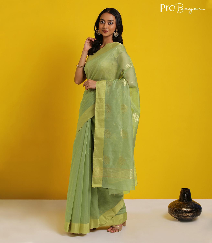 Chanderi Mercerised Silk Light Pear Green Handwoven Saree