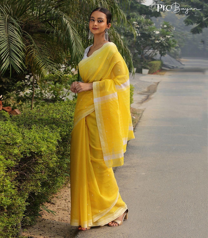 Chanderi Amber Yellow Handwoven Saree