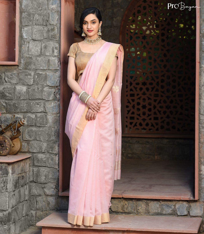 Chanderi Silk Lemonade Pink Handwoven Saree