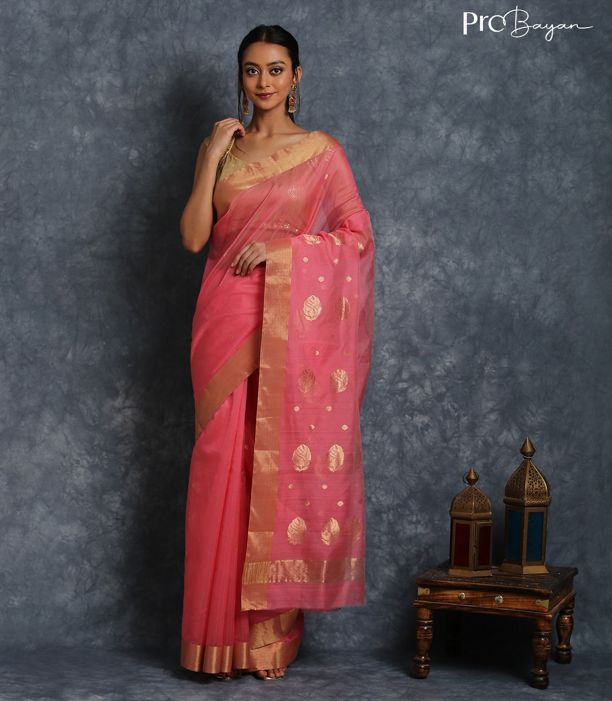 Chanderi Mercerised Silk Rouge Pink Handwoven Saree