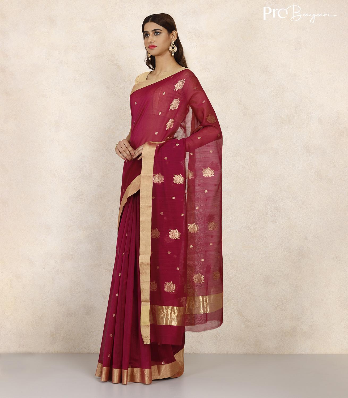 Chanderi Mercerised Silk Dark Sangria Pink Handwoven Saree