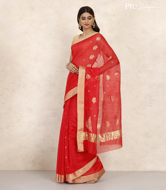 Chanderi Mercerised Silk Scarlet Red Handwoven Saree