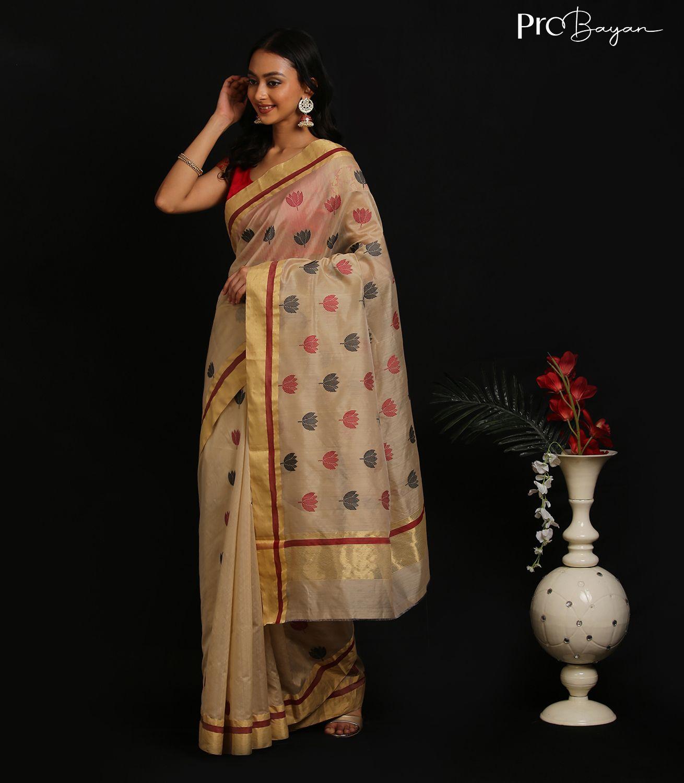 Chanderi Lotus Motif Mercerised Silk Oldlace White Handwoven Saree
