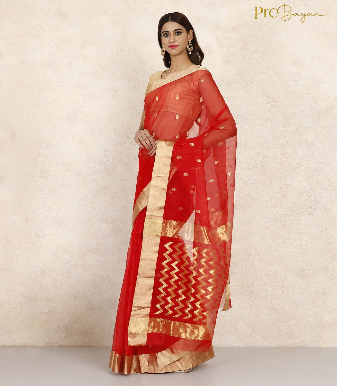 Chanderi Katan Silk Crimson Red Zari Embroidered Handwoven Saree