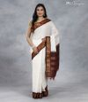 Gadwal Cotton White and Mahogany Red Handwoven Saree