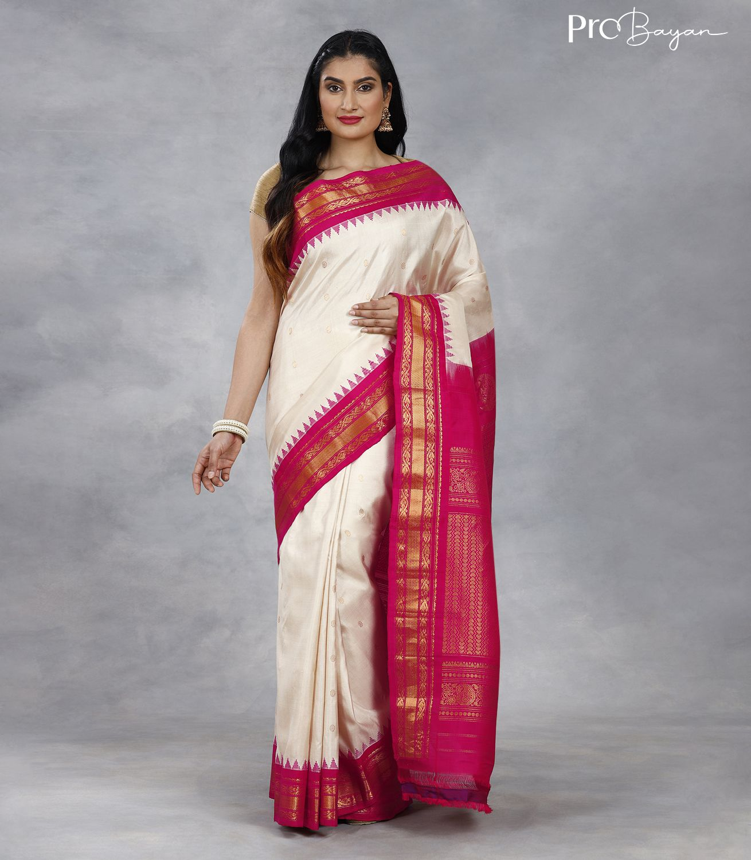 Gadwal Silk Coconut White and Pink Premium Pallu Handwoven Saree