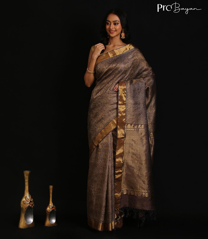 Kosa Silk Gold Full Body Jala Embroidered Hadwoven Saree