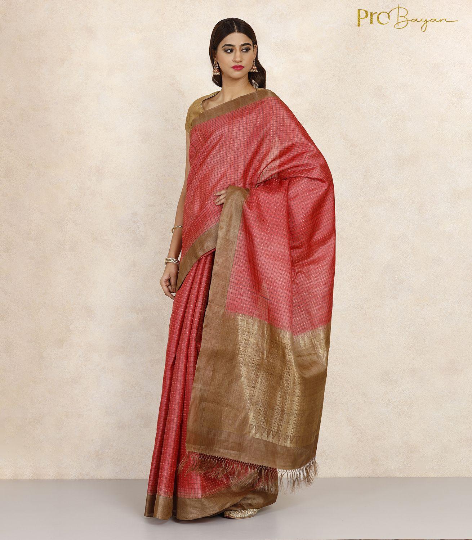 Kosa Silk Persian Red Full Body Checkered Handwoven Saree