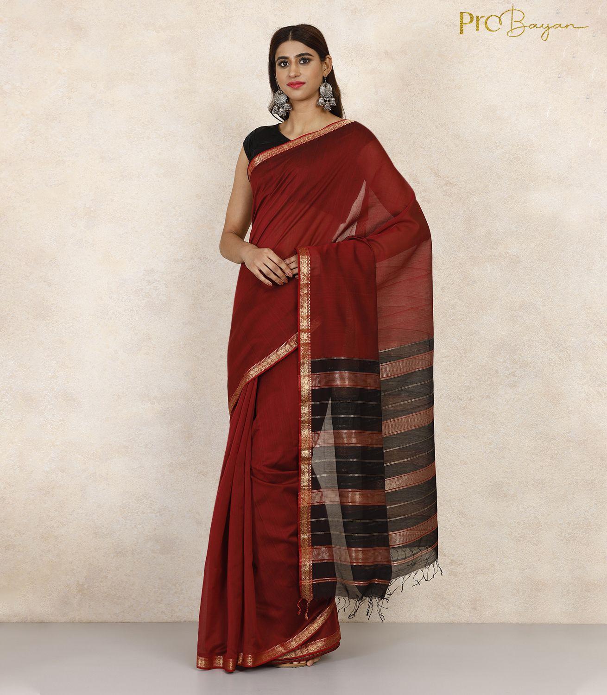 Maheshwari Silk Cotton Maroon & Black Handwoven Saree