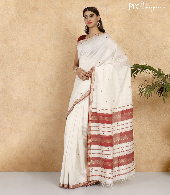 Maheshwari Silk Cotton Vanilla Off-White Handwoven Saree