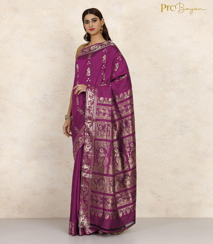Swarnachari Silk Boysenberry Purple Minakari Handwoven Saree