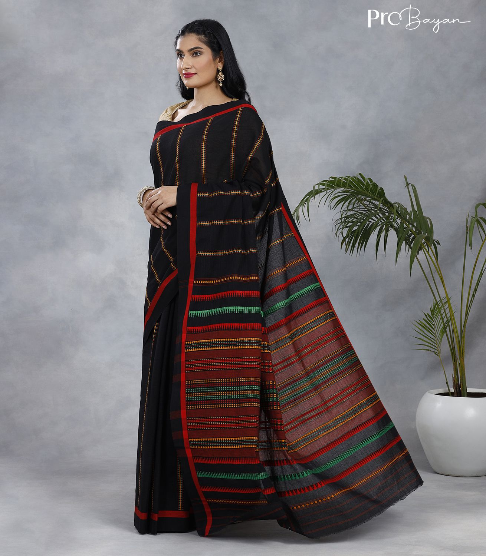 Begampuri Bengal Cotton Black Handwoven Saree