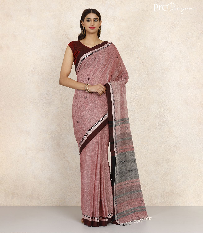 Tangail Khadi Cotton Lavender Pink Handwoven Saree