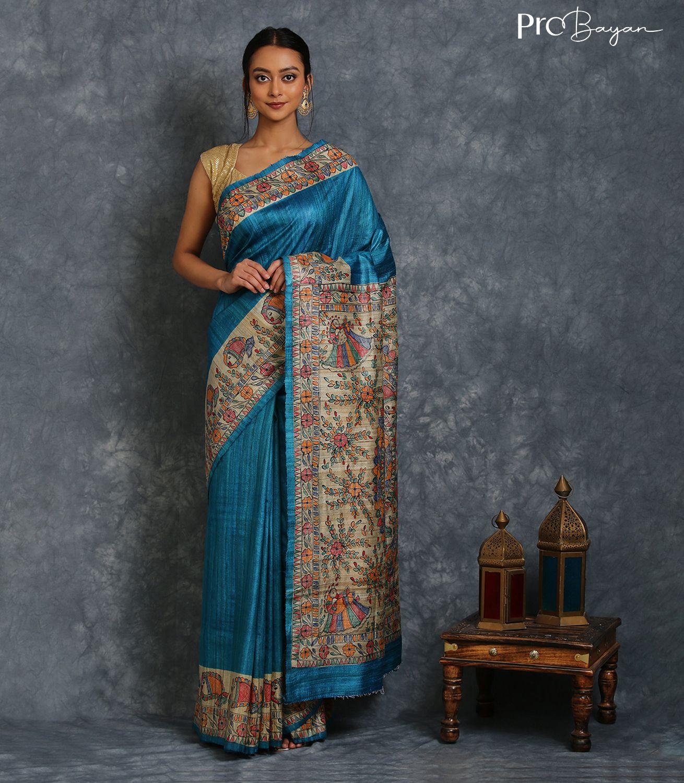Madhubani Handpainted Tussar Ghicha Silk Cerulean Blue Handwoven Saree