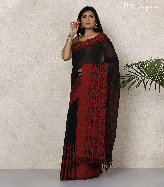 Begampuri Bengal Cotton Pitch Black Handwoven Saree