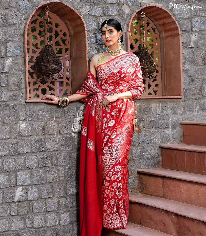 Banarasi Muga Silk Red Jangla Handwoven Saree