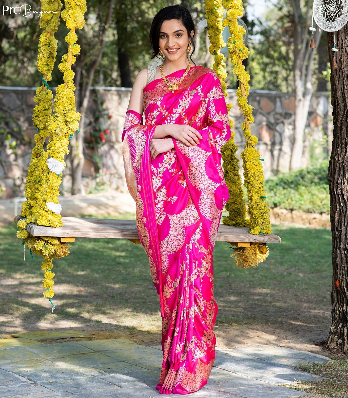 Exclusive Banarasi Kaduwa Jangla Minakari Silk Ruby Pink Handwoven Saree