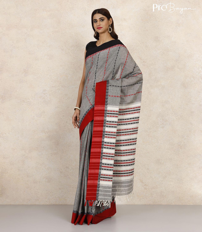 Begampuri Bengal Cotton Cloud Grey Handwoven Saree