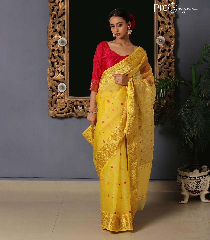Chanderi Katan Silk Yellow Full Body Embroidered Handwoven Saree
