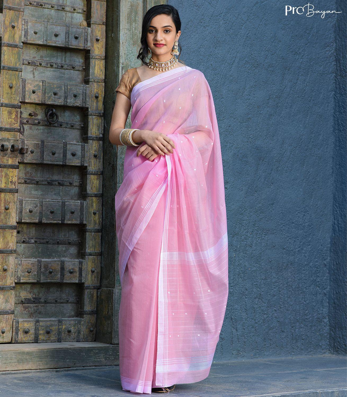 Chanderi Cotton Creamy Pink Handwoven Saree