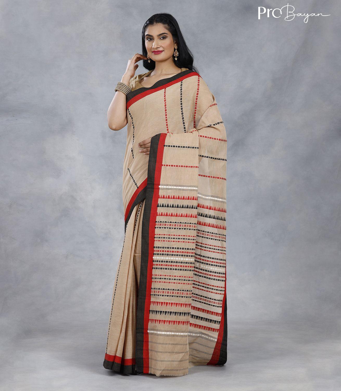 Begampuri Bengal Cotton Macaroon Cream White Handwoven Saree