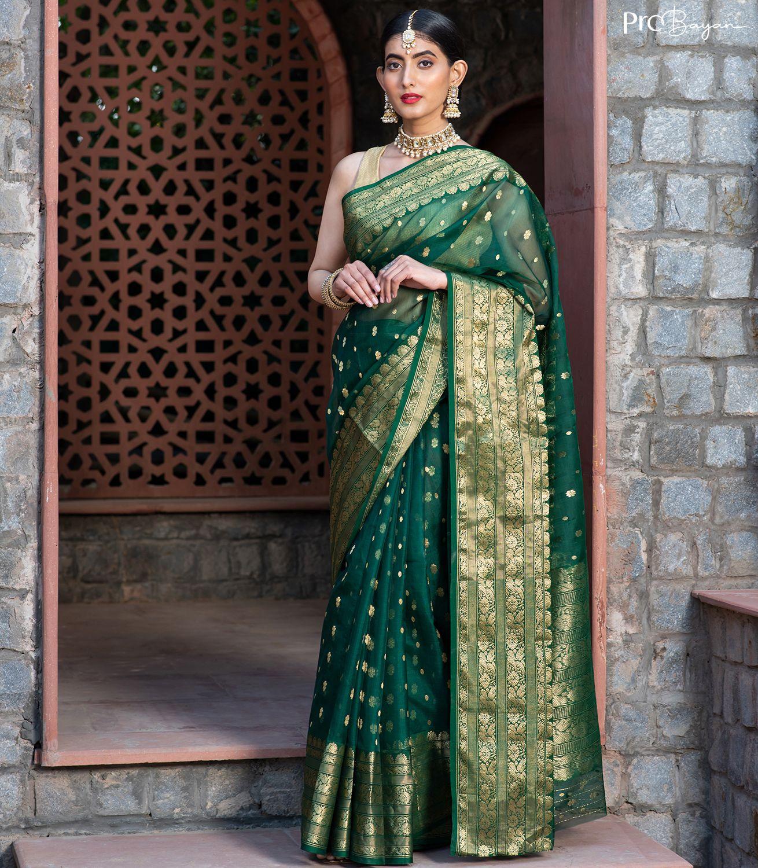 Chanderi Banebar Katan Silk Emerald Green Full Body Motif Handwoven Saree