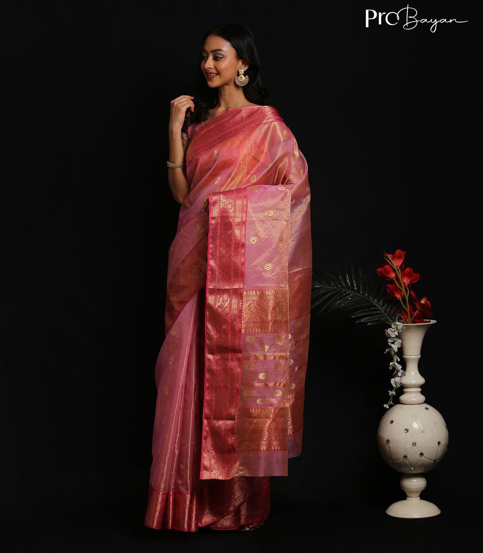Chanderi Tissue Katan Silk ButterPink Zari Embroidered Handwoven Saree