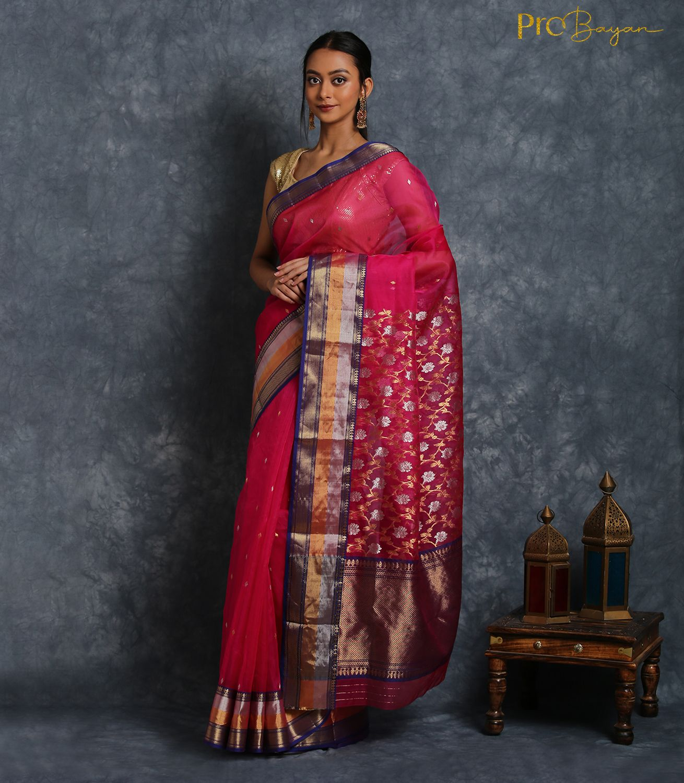 Chanderi Katan Silk Cheshire Pink Jangla Pallu Handwoven Saree