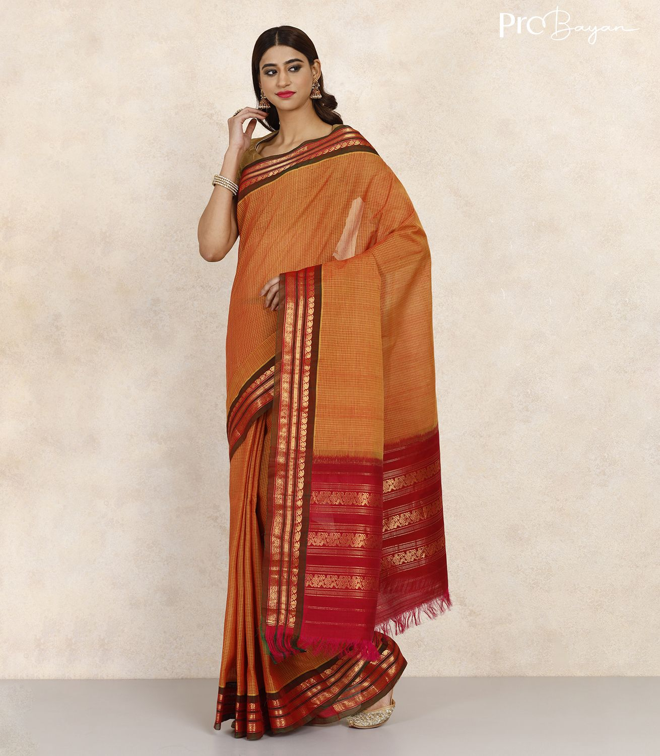 Gadwal Cotton Honey Yellow and Brown and Pink Handwoven Saree