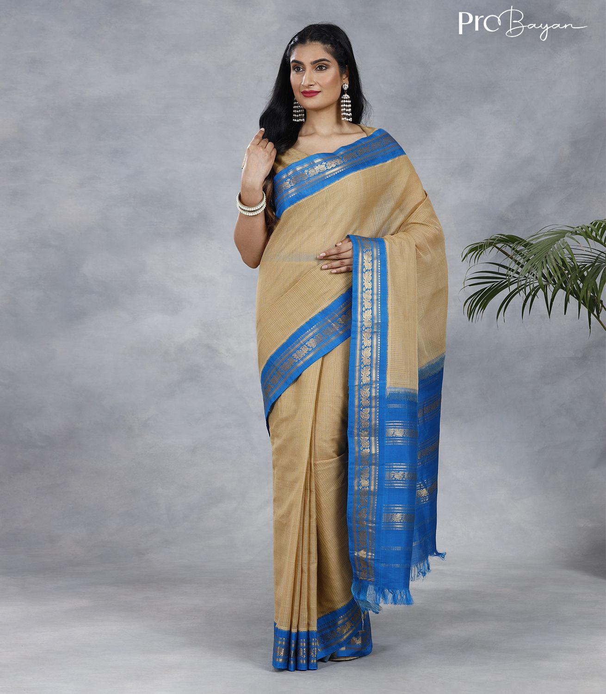 Gadwal Cotton Cream White and Blue Handwoven Saree
