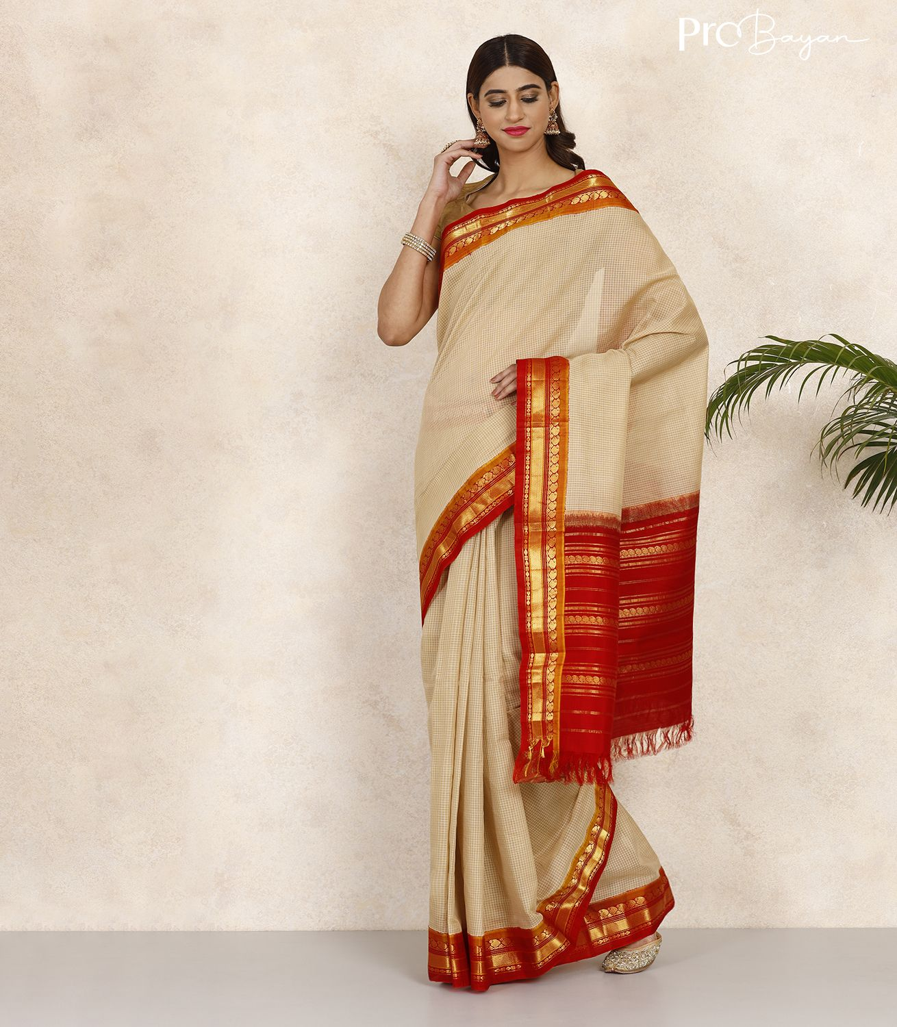Gadwal Cotton Parchment White and Red Handwoven Saree