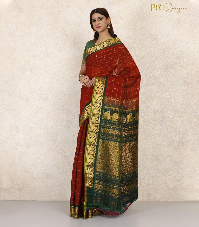 Gadwal SiCo Brick Red and Green Zari Bordered Handwoven Saree