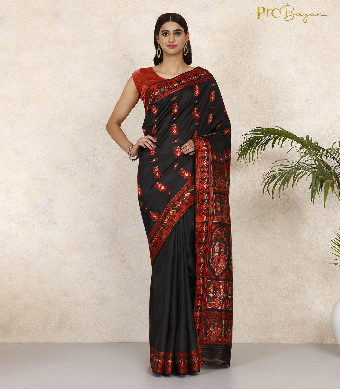 Baluchari Silk Jade Black Handwoven Saree