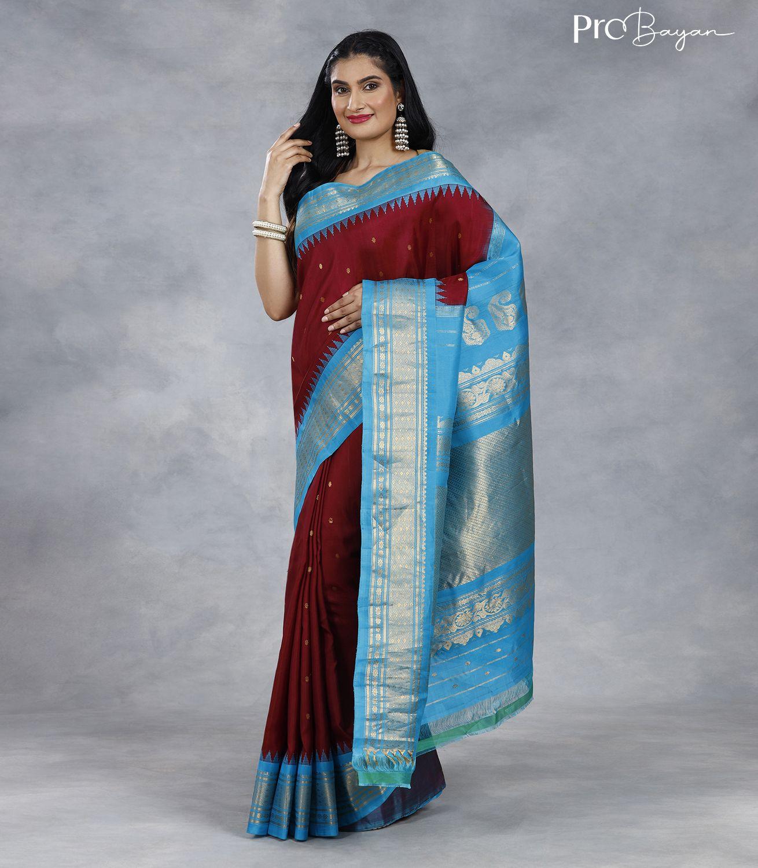 Gadwal Silk Rosewood Red and Sky Blue Premium Pallu Handwoven Saree