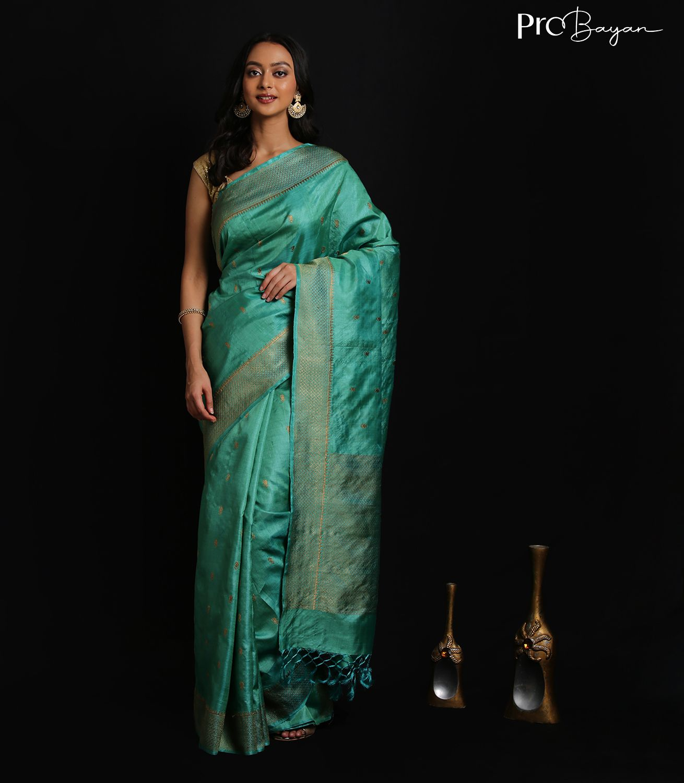 Kosa Silk Light Teal Green Full Body Butiwork Handwoven Saree