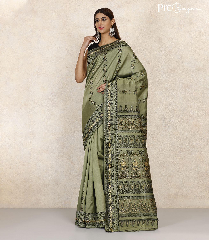 Baluchari Silk Pista Green Handwoven Saree