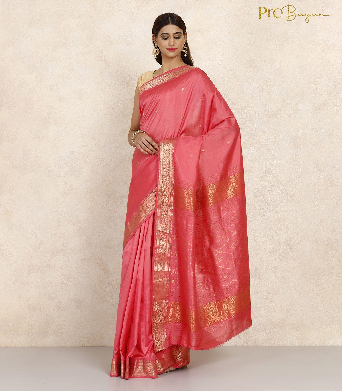 Maheshwari Silk Punch Pink Golden Embroidered Handwoven Saree